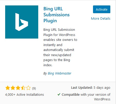 Bing URL Submissions WordPress Plugin
